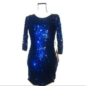 LIGHT IN THE BOX Blue Sequin Polyester Mini Dress